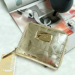 Michael Kors Jetset Biofold Gold Medium Zip Wallet